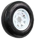 Rainier ST ST225/75R15 LRD 8 PR Radial Trailer Tire on 15'' 6 Lug White Spoke Trailer Wheel