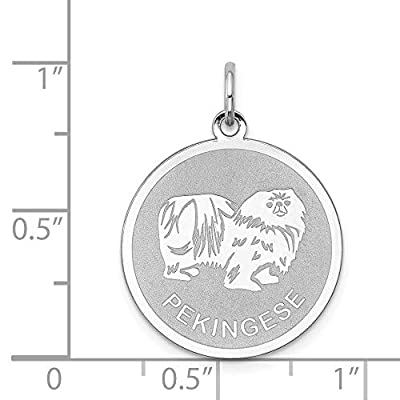 925-Sterling-Silver-Pekingese-Disc-Pendant-Charm-Necklace-Animal-Dog-Engravable-Round-Fine-Jewelry-Gifts-For-Women-For-Her