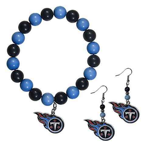 Siskiyou NFL Tennessee Titans Fan Bead Earrings & Bracelet Set (Tennessee Titans Bracelets)