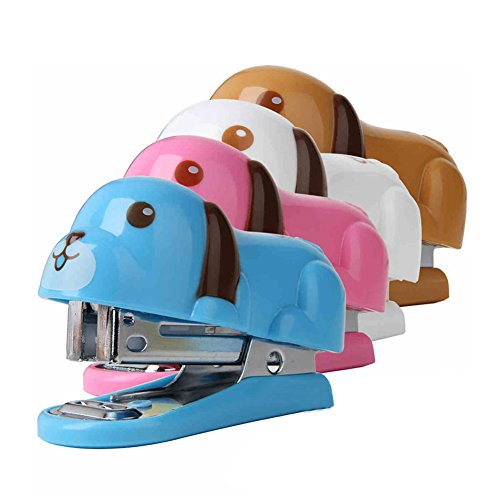 Yamalans Kids Portable Mini Cute Dog Puppy Desktop Stapler with Staples for Office Home Random Color