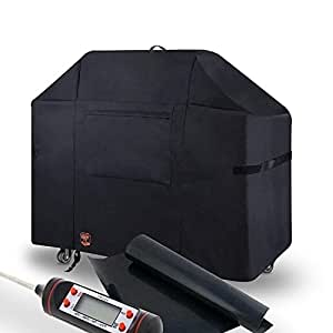 Yukon Glory 7107 Grill Cover for Weber Genesis Series - Waterproof & Weatherproof Vinyl Gas BBQ Winter Protector FREE BONUS MEAT & POULTRY THERMOMETER + BBQ GRILLING MATT