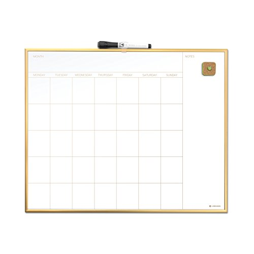 U Brands Magnetic Monthly Calendar Dry Erase Board - 20 x 16 Inches - Gold Aluminum Frame