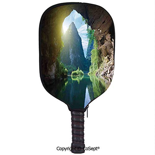 Neoprene Pickleball Paddle Cover,Mountain and Sky View from The Grotto Viatnemese Tam COC Park Myst Nature Photo,Fit for Most Rackets and Protect Your Paddle(8.26x11.61 inch) Multi