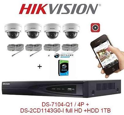 PoE Video Vigilancia Pack 4 cámaras domo IP Full HD + 4MP visión nocturna 30 metros
