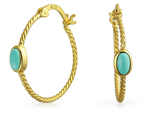 Bling Jewelry Synthetic Turquoise Twisted Cable Gold Plated Hoop Earrings