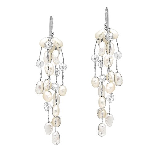 Striking Waterfall Cultured Freshwater White Pearl .925 Sterling Silver Dangle - Pearl Earring Dangling Handmade