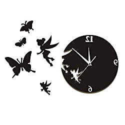 llsmting Wall Clocks for Living Room Fairy Angel Flying Butterfly DIY Clock Modern Design Suitable for Office Restaurant Bedroom Kids Room Cafe Hotel 12 inch