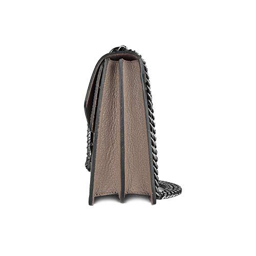 E Martellata Metallo Rachel Tracolla Pelle Media Catena Tortora In A Accessori Pebble Borsa myitalianbag Spalla Scuro Pochette Bq88O