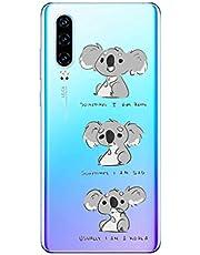 Oihxse Compatible con Huawei Y7 2018/honor 7C Funda Cristal Silicona TPU Suave Ultra-Delgado Protector Estuche Creativa Patrón Protector Anti-Choque Carcasa Cover(Pereza A3)