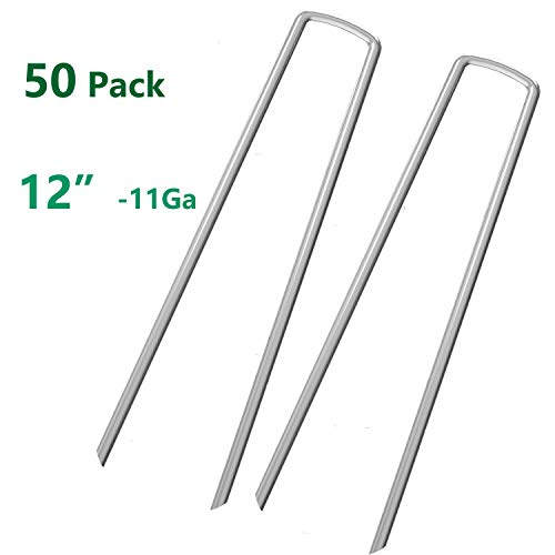 (OuYi 50 Fence Anchors 12 Inch Garden Stakes/Spikes/Pins/Pegs 11 Gauge Galvanized Steel, Anchoring Landscaping, Weed Barrier Fabric, Ground Cover)
