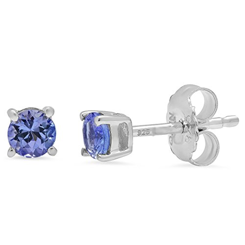 - Round Tanzanite Stud Earrings Set in Sterling Silver 1/2ct tgw Real Genuine Tanzanite