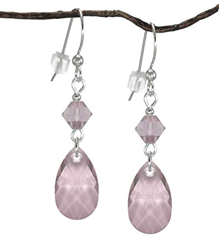 (Swarovski Crystal Antique Pink Teardrop and Bicone Sterling Silver)
