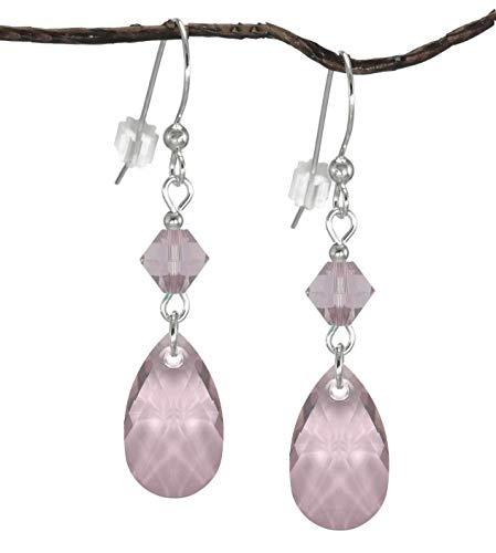 Swarovski Crystal Antique Pink Teardrop and Bicone Sterling Silver Earrings