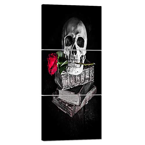 Halloween Painting Skull Face Black and White Canvas Skeleton Red Rose Wall Art Human Bone Prints Day of the Dead Home Decro Giclee,Home Decor Wooden Framed Stretched Ready to Hang(16''Wx36''H) -