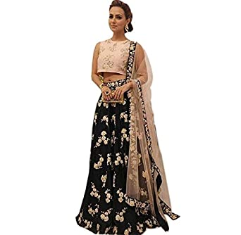4ffedeb2c1 ChoiceEspecial Black Embroidered Tapeta silk new Collection Lehenga Choli:  Amazon.in: Clothing & Accessories