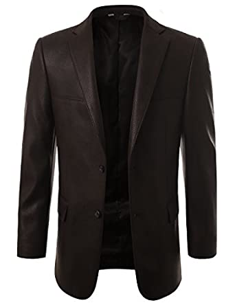 MONDAYSUIT Mens Leather Look Sport Coat Blazer Jacket (Big & Tall ...