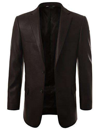 MONDAYSUIT Modern Fit Leather Look Sport Coat Blazer Suit Jacket CHOCOLATE BLACK