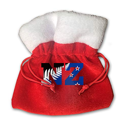 CYINO Personalized Santa Sack,New Zealand Flag NZ Fern Leaf Durable Rib Portable Christmas Drawstring Gift Bag (Red)