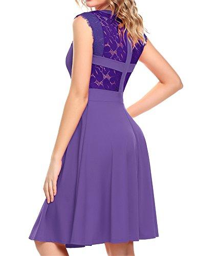 A Dress Line Elegant Cocktail Women's Sleeveless Purple Lace Beyove Party Pleated gpqtx