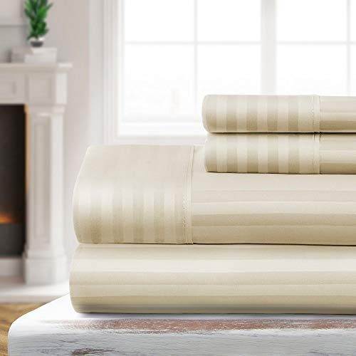 4 Piece Modern Style Vanilla Ivory Cal King Sheets, Stripe Embossed Design Flat Fitted Sheets Microfiber Elegant Luxurious Bedding Set Hypoallergenic Fade Resistant Wrinkle Free Buttery Soft Sheet Set