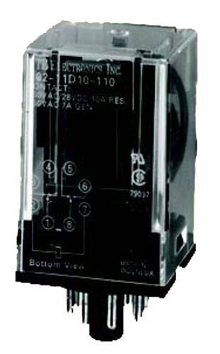(NTE Electronics R02-11A10-24 R02 Series General Purpose Multicontact AC Relay, DPDT Contact Arrangement, 10 Amp, 8 Pin Octal Plug, 24 VAC)