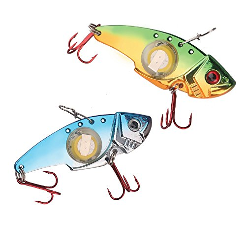 Tundra Tackle Co. Lighted Vibe MinO Blade Bait - LED Electronic Battery Powered Underwater Water Activated Light-Up Lure Jigs Attract Fish (2-Pack Vibe F+B, 1/2 oz)