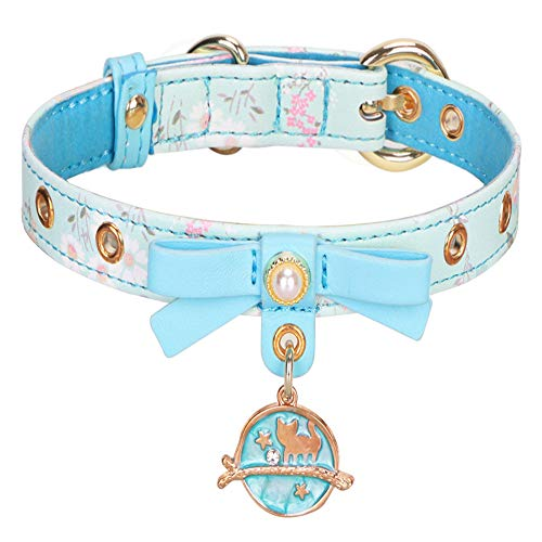 PetsHome Dog Collar, Cat Collar, Pattern Printing PU Leather with Bowtie and Pendant Adjustable Collars for Small Dog and Cat Small Blue