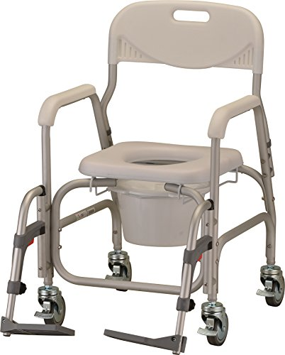 NOVA Rolling Shower Commode Chair with Locking Wheels and Removable Footrests, Over The Toilet Wheeled Commode (Locking Wheel)