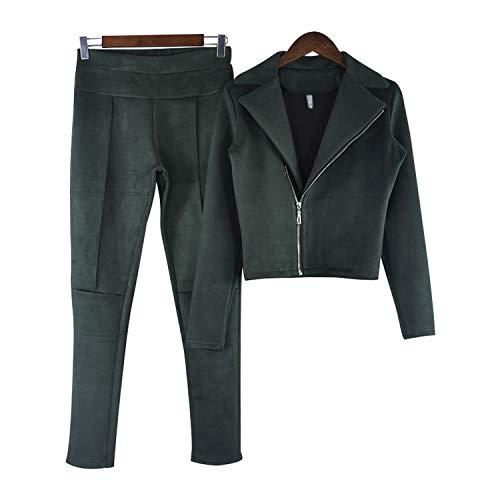 Skirt Autunno Green Giacche Donna Pelle Pacchetto Cappotti Gonna Pezzi Primavera Tuta Army 2 Open Hip Due Di Jacket Scamosciata Fork Zipper E Set AOBq8