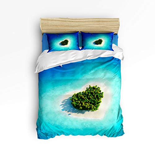 Green Striped Bed Ensemble - EZON-CH 4 Piece Duvet Cover Sets Cute Soft Bedding Set for Kids,Green Heart Shape of Islands Bed Sheet Set,Include 1 Flat Sheet 1 Duvet Cover and 2 Pillow Cases,Queen Size
