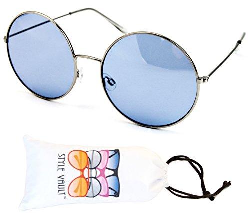 V3040-vp Style Vault Metal Oversized Round Sunglasses (E2033G Silver-Sky - Sky Big Sunglasses