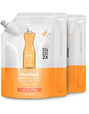 Method Liquid Dish Soap Refill, Plant-Based Dishwashing Liquid that Cuts Through Tough Grease for a Sparkling Clean - Clementine Scent - 1 Liter Bags - 2 Pack