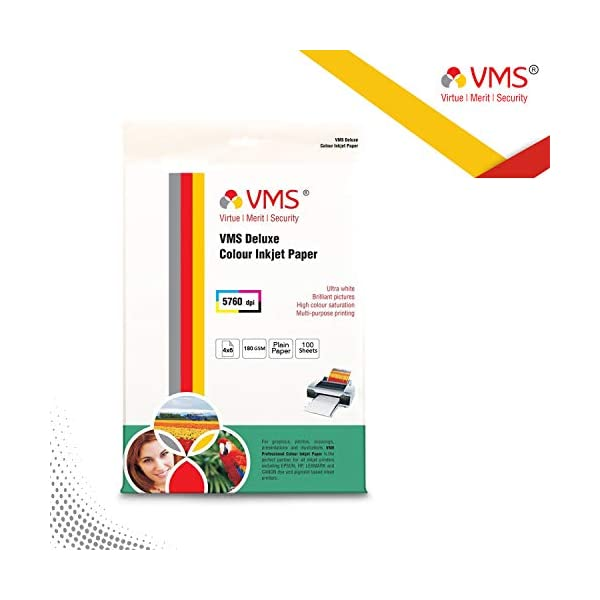 VMS Deluxe Colour 4R (4 x 6) Photo Paper 102x152mm High Glossy 180gsm Water Resistant Instant Dry For All Inkjet Printers – Set of 2 (200 Sheets)