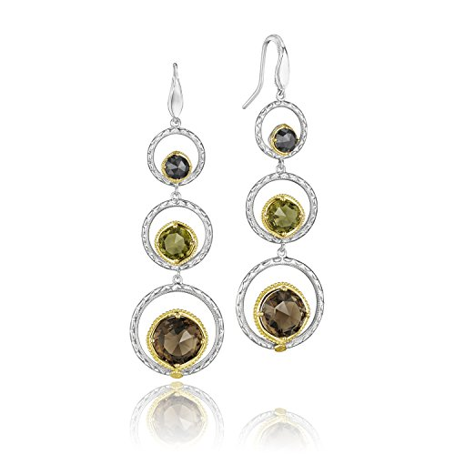 Yellow Gold and Sterling Silver Midnight Assorted Gem Earrings (Gold Smokey Quartz Dangle)