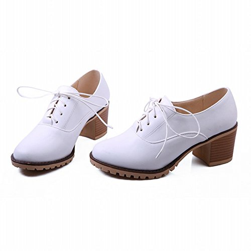 Mostrar Zapatos De Mujer Shine Mujeres Fashion Sweet Chunky Heel Oxfords Blanco