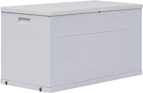 Vidaxl Auflagenbox 420l Hellgrau Kissenbox Gartenbox Aufbewahrungsbox Truhe Amazon De Kuche Haushalt