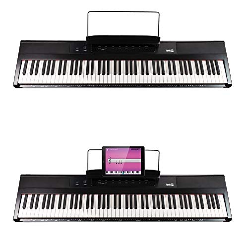 RockJam 88-Key Beginner Digital Piano with Full-Size Semi-Weighted Keys, Power Supply, Simply Piano App Content & Key Note Stickers (Best Electric Piano Weighted Keys)