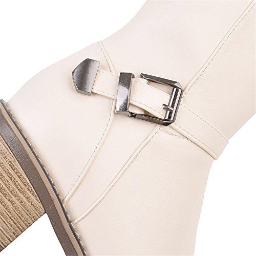 Moda Moda Moda Chiusa Bassi Tonda Shoes Beige Invernali AgeeMi Zip Zip Zip Donna Punta Comode Stivali 8AaqZ