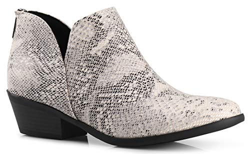 Women's Madeline Western Almond Round Toe Slip on Bootie - Low Stack Heel - Zip Up - Casual Ankle Boot Beige Python Suede 6 ()