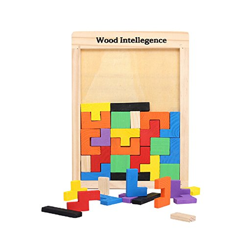 Zoostliss Early Education Colorful Wooden Tangram Brain Tetris Block Intelligence Puzzle for Preschool Children Playing