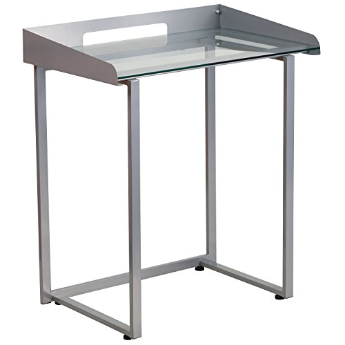Flash Furniture Contemporary Desk with Clear Tempered Glass and Silver (Clear Contemporary Desk)