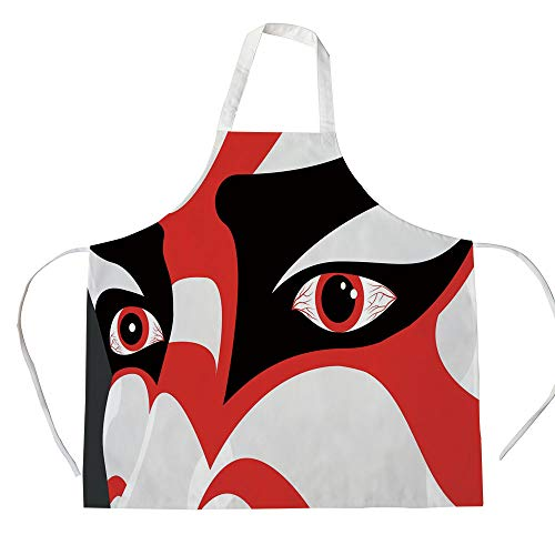 Kabuki Mask Decoration 3D Printed Cotton Linen Apron,Japanese Drama Kabuki Face with Dramatic Eyes Cultural Theater,for Cooking Baking Gardening,Black White Red