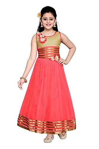 Aarika Girl's Gajri Self Design Premium Net Party Wear Gown (G-3505-GAJRI_38_14-15 Years) by Aarika