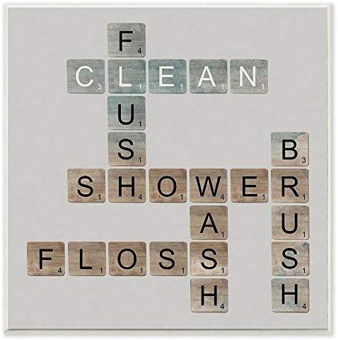 Zhaoshoping The Collection Scrabble - Placa de Madera para decoración del hogar con Texto en inglés Scrabble Bathroom Illustration Art, 12 x 12: Amazon.es: Hogar