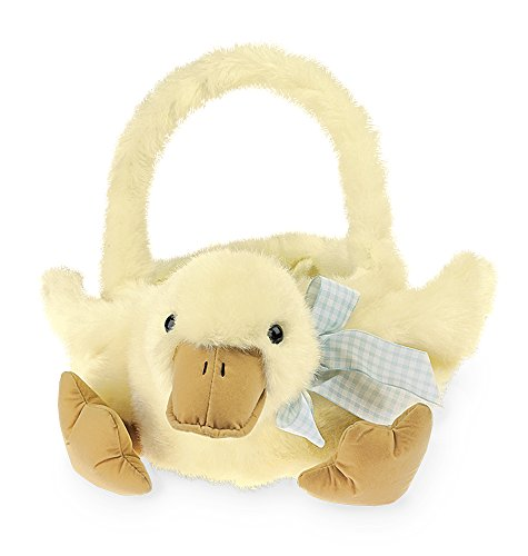 Bearington Plush Yellow Duck Kids Easter Egg Basket, 12