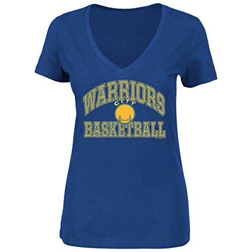 NBA The City 1962-71 Women's Sweet Serenade Short Sleeve V-Neck T-Shirt, Royal, Large