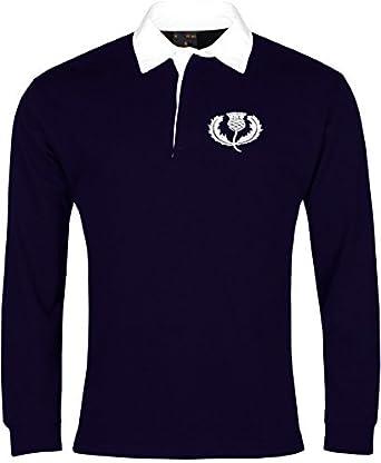 Old School Football Retro Escocia Nacional Camiseta de Rugby Logotipo Bordado
