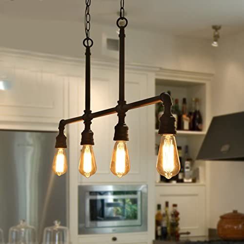 LOG BARN Farmhouse Chandelier, Black Ceiling Light Fixture in Metal Water Pipe, Industrial Linear Island Pendant for Kitchen, Dining Room