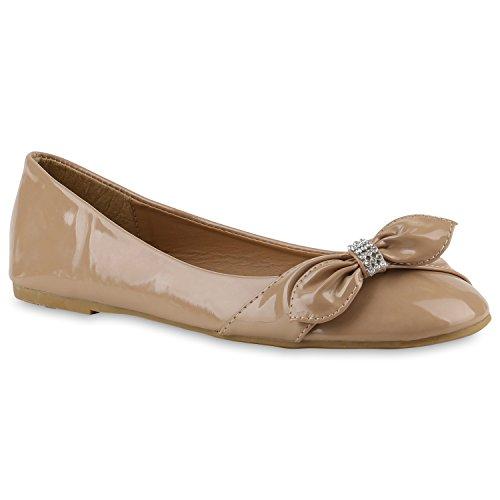 Stiefelparadies Damen Ballerinas Schleifen Klassische Ballerina Schuhe Strass Flats Metallic Übergrößen Gr. 36-44 Flandell Khaki Schleife Steinchen