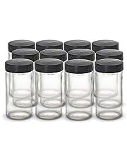 Kamenstein 5244227 Empty Jars, Set of 12, 3 Ounce, Black Cap
